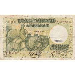 Belgique - Pick 106_3 - 50 francs ou 10 belgas - 1938 - Etat : TB-