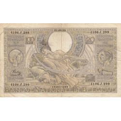 Belgique - Pick 107_3 - 100 francs ou 20 belgas - 1938 - Etat : TB