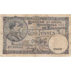 Belgique - Pick 108_2 - 5 francs - 1938 - Variété 1988 - Etat : TB-