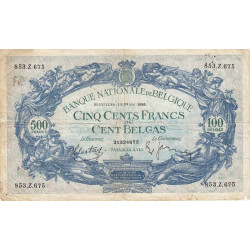 Belgique - Pick 109_1 - 500 francs ou 100 belgas - 1939 - Etat : TB-