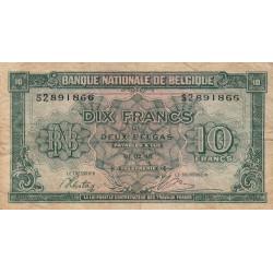 Belgique - Pick 122_2 - 10 francs ou 2 belgas - 1943 - Etat : TB