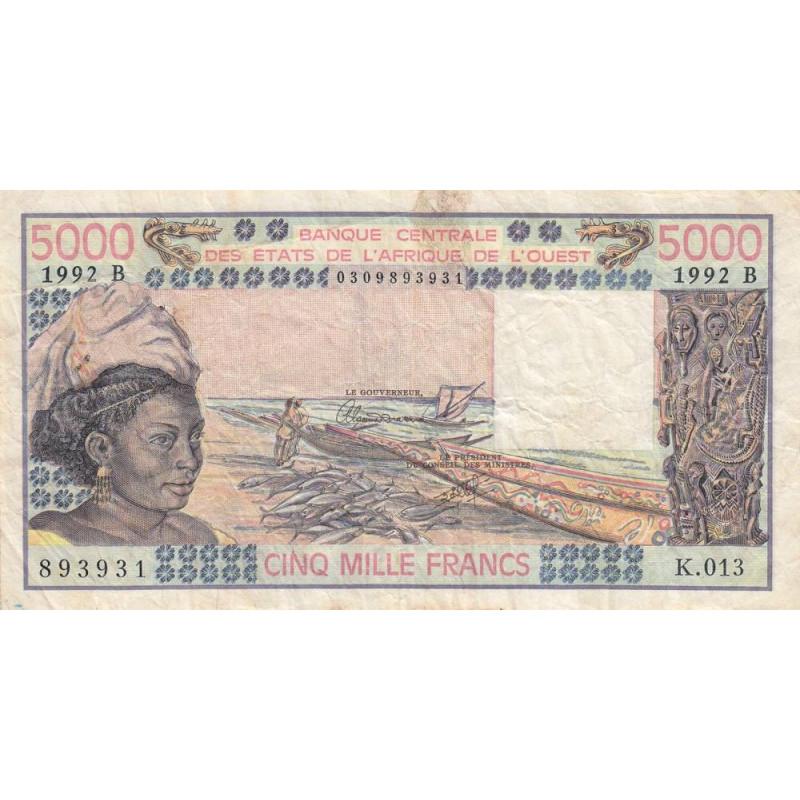 Bénin - Pick 208Bp-1 - 5'000 francs - 1992