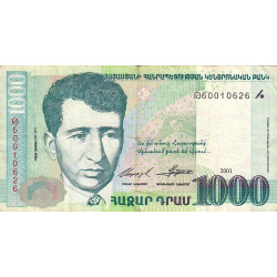 Arménie - Pick 50b - 1'000 dram - 2001 - Etat : TB