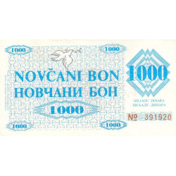 Bosnie Herzegovine - Pick 8g - 1'000 dinara - 1992 - Etat : SPL