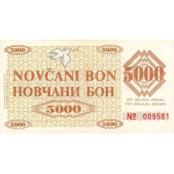Bosnie Herzegovine - Pick 9g - 5'000 dinara - 1992 - Etat : TTB+