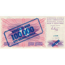Bosnie Herzegovine - Pick 34a-var- 100'000 dinara sur 10 dinara - 1993 - Etat : NEUF