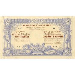 Inde Française - Pick A3S - Specimen - 50 roupies 1892 - Etat : SPL
