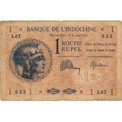 Inde Française - Pick 4c - 1 roupie - 1932 - Etat : TB