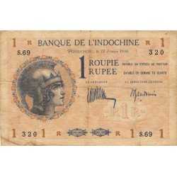 Inde Française - Pick 4d-1 - 1 roupie - 1936 - Etat : TB+