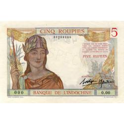 Inde Française - Pick 5S - Specimen - 5 roupies - 1937 - Etat : SPL+