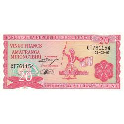 Burundi - Pick 27d_1 - 20 francs - 1997 - Etat : NEUF