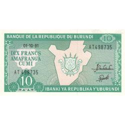 Burundi - Pick 33b_4 - 10 francs - 1991 - Etat : SPL