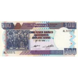 Burundi - Pick 38b - 500 francs - 1999 - Etat : NEUF
