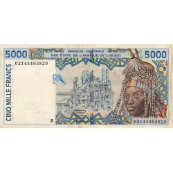 Bénin - Pick 213Bl - 5'000 francs - 2002 - Etat : TB