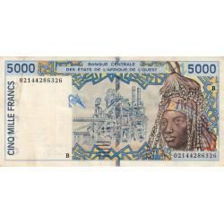Bénin - Pick 213Bl - 5'000 francs - 2002 - Etat : TTB-