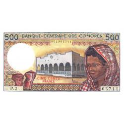 Comores - Pick 10a_1 - 500 francs - 1986 - Etat : NEUF