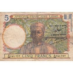 AEF - Pick 6_1 - 5 francs - 1943 - Etat : TB-