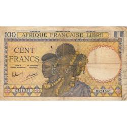 AEF - Pick 8_1 - 100 francs - 1943 - Etat : TB