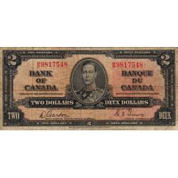 Canada - Pick 59b - 2 dollars - 1938 - Etat : B+