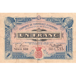 Annonay - Pirot 11-20 - 1 franc - Etat : TB