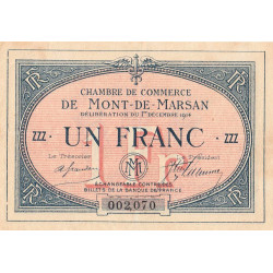 Mont-de-Marsan (Landes) - Pirot 82-8 - 1 franc - Etat : TTB-