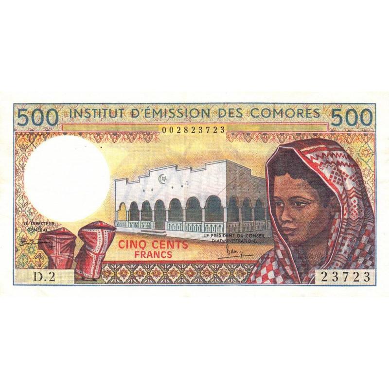 Comores - Pick 7_2 - 500 francs - Etat : TTB+