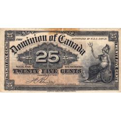 Canada - Pick 9b - 25 cents - 1900 - Etat : TB
