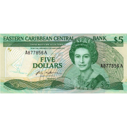 Est Caraïbes - Antigua - Pick 18a - 5 dollars