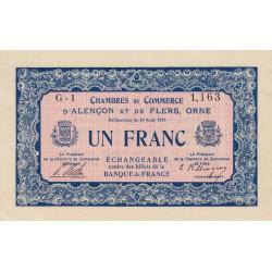 Alençon / Flers (Orne) - Pirot 6-4 - 1 franc - 1915 - Etat : TTB