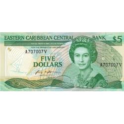 Est Caraïbes - Saint Vincent - Pick 18v - 5 dollars - 1986 - Etat : NEUF