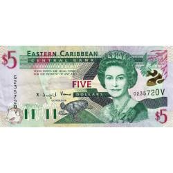 Est Caraïbes - Saint Vincent - Pick 37v - 5 dollars - 2001 - Etat : TTB+