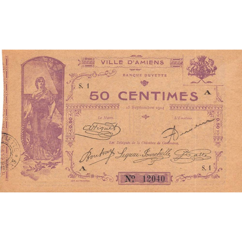 80-1 Amiens (Ville d') - Pirot 7-1- 50 centimes - Etat : SPL à NEUF