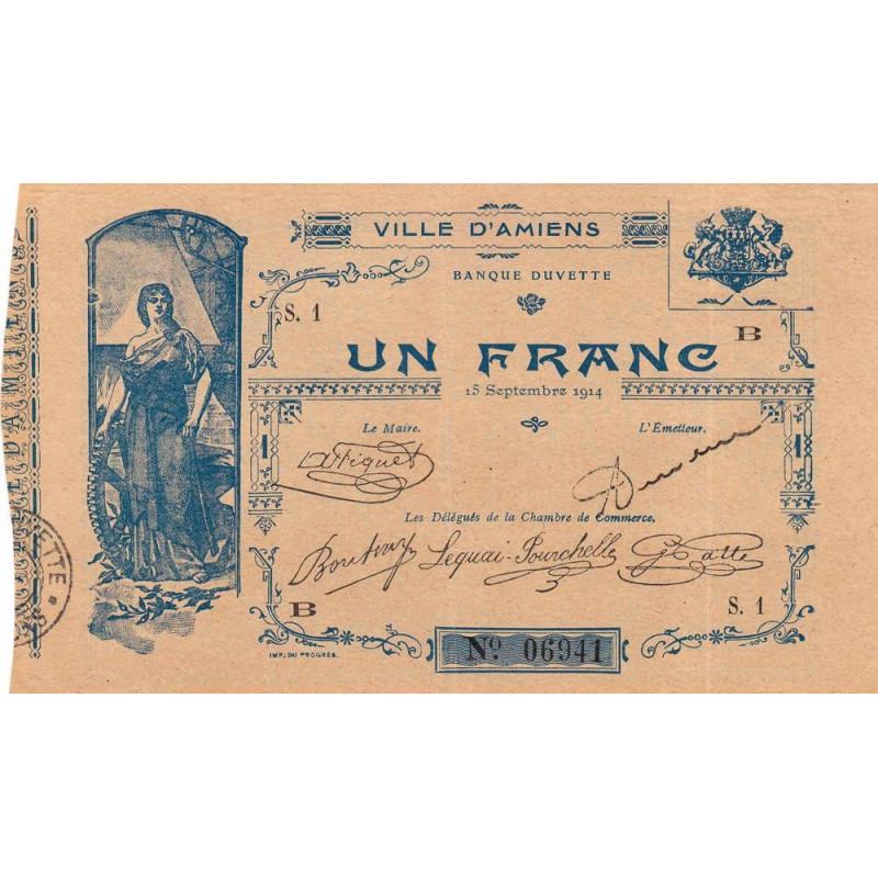 80-2 Amiens (Ville d') - Pirot 7-2- 1 franc - Etat : SUP