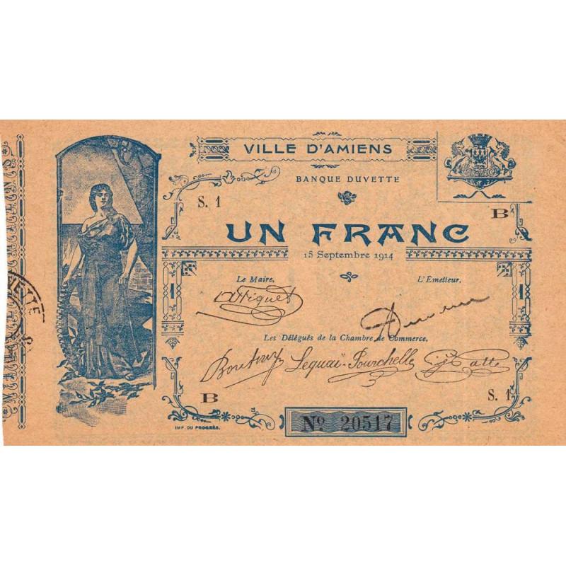 80-Amiens (Ville d') - Pirot 7-2- 1 franc