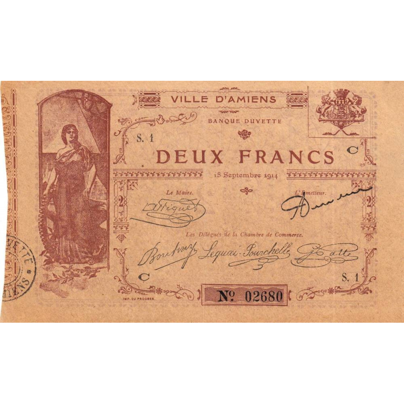 80-Amiens (Ville d') - Pirot 7-3- 2 francs