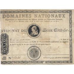 Assignat 01b - 200 livres à endos - 1789  - Etat : B