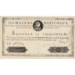 Assignat 04a - 50 livres - 29 septembre 1790 - Etat : SUP-