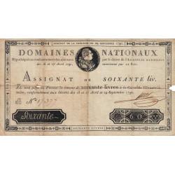 Assignat 05a - 60 livres - 29 septembre 1790 - Etat : TB-