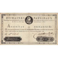 Assignat 05a - 60 livres - 29 septembre 1790 - Etat : TTB