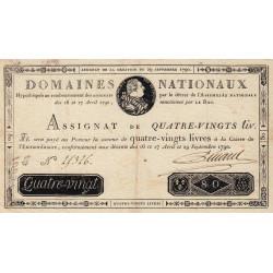 Assignat 07a - 80 livres - 29 septembre 1790 - Etat : SUP