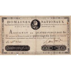 Assignat 08a - 90 livres - 29 septembre 1790 - Etat : TB