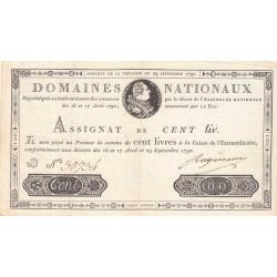 Assignat 09a - 100 livres - 29 septembre 1790 - Etat : SUP-