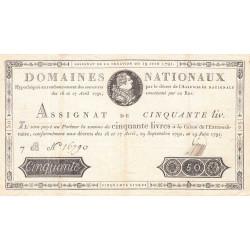 Assignat 13a - 50 livres - 19 juin 1791 - Etat : TTB+