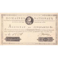 Assignat 13a - 50 livres - 19 juin 1791 - Etat : TTB
