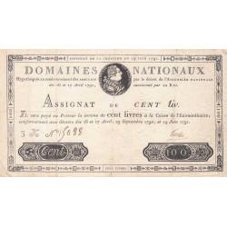 Assignat 15a - 100 livres - 19 juin 1791 - Etat : TTB-