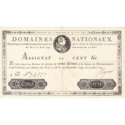 Assignat 15a - 100 livres - 19 juin 1791 - Etat : SUP