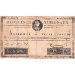 Assignat 18a - 300 livres - 19 juin et 12 septembre 1791 - Etat : TB