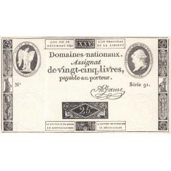 Assignat 22a - 25 livres - 16 décembre 1791 - Etat : SUP+