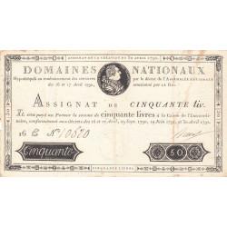 Assignat 28a - 50 livres - 30 avril 1792 - Etat : TTB-