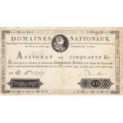 Assignat 28a - 50 livres - 30 avril 1792 - Etat : TTB